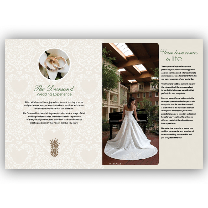 Desmond Wedding Brochure - Brochure Design by Blass Marketing - Fourth Spread