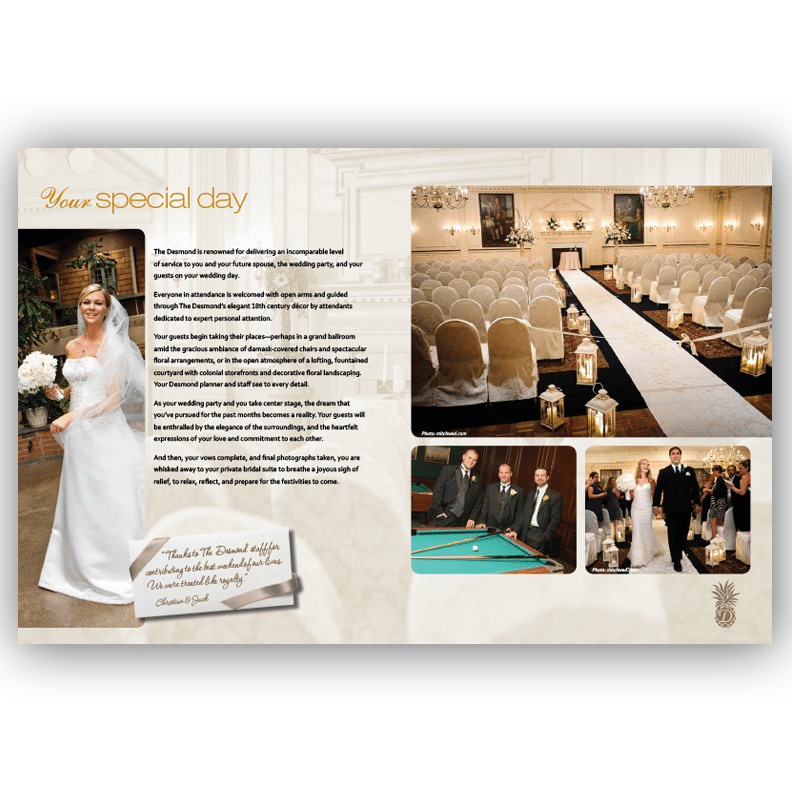Desmond Wedding Brochure - Brochure Design by Blass Marketing - Second Spread