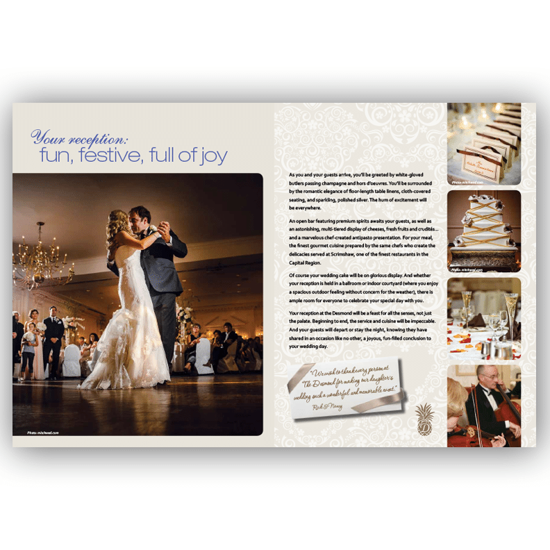 Desmond Wedding Brochure - Brochure Design by Blass Marketing - First Spread
