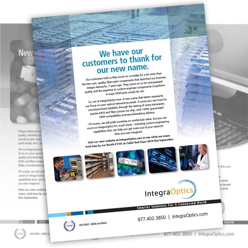Image of IntegraOptics brochure designed by Blass Marketing