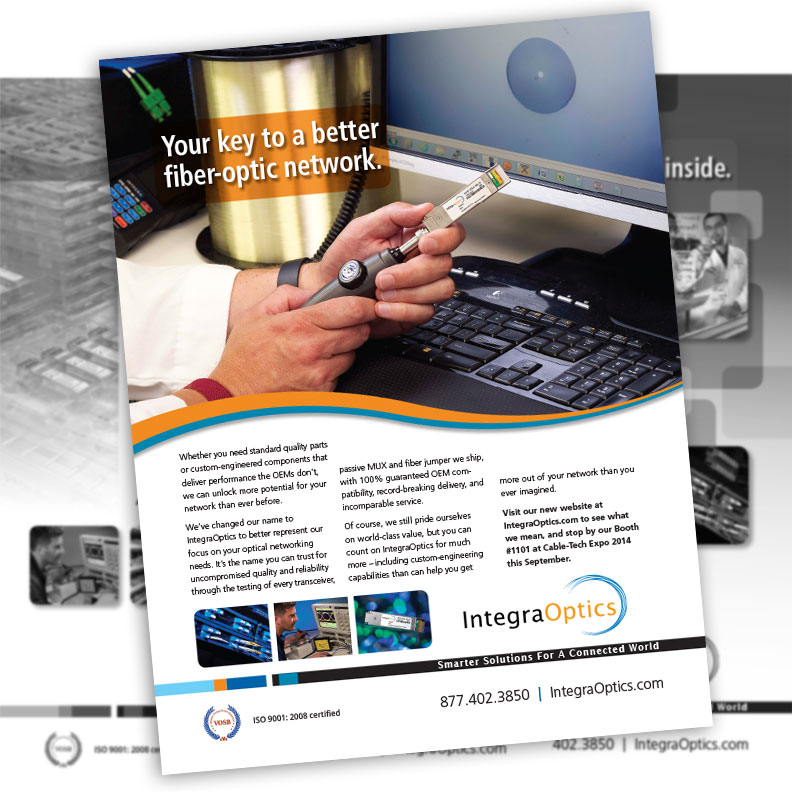Image of IntegraOptics ad designed by Blass Marketing