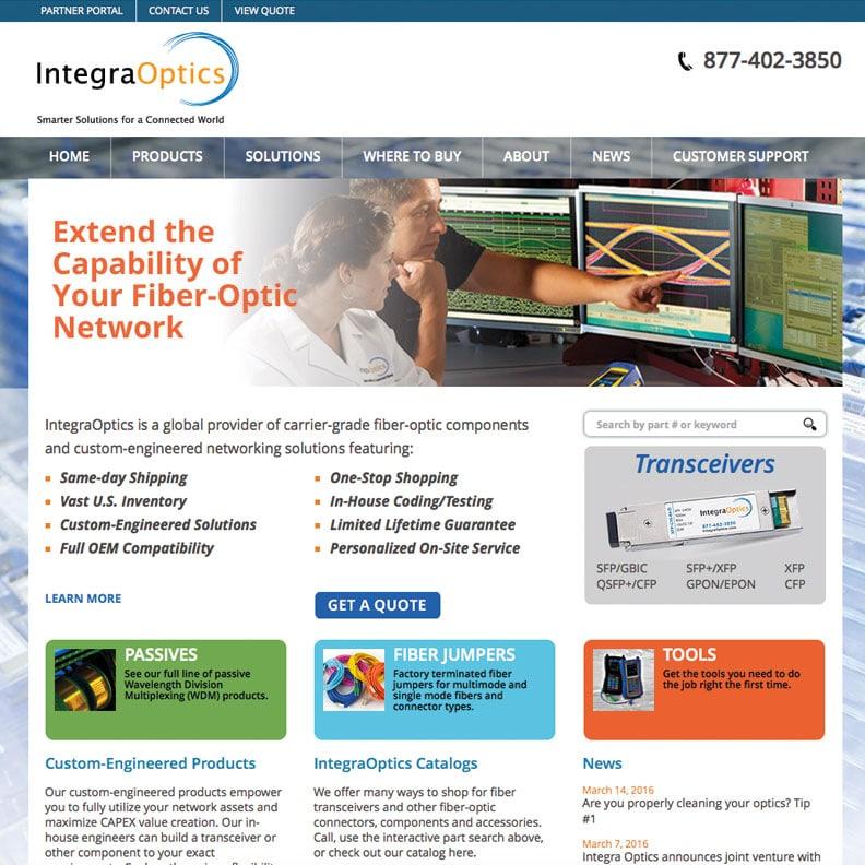 Image of IntegraOptiocs website designed by Blass Marketing