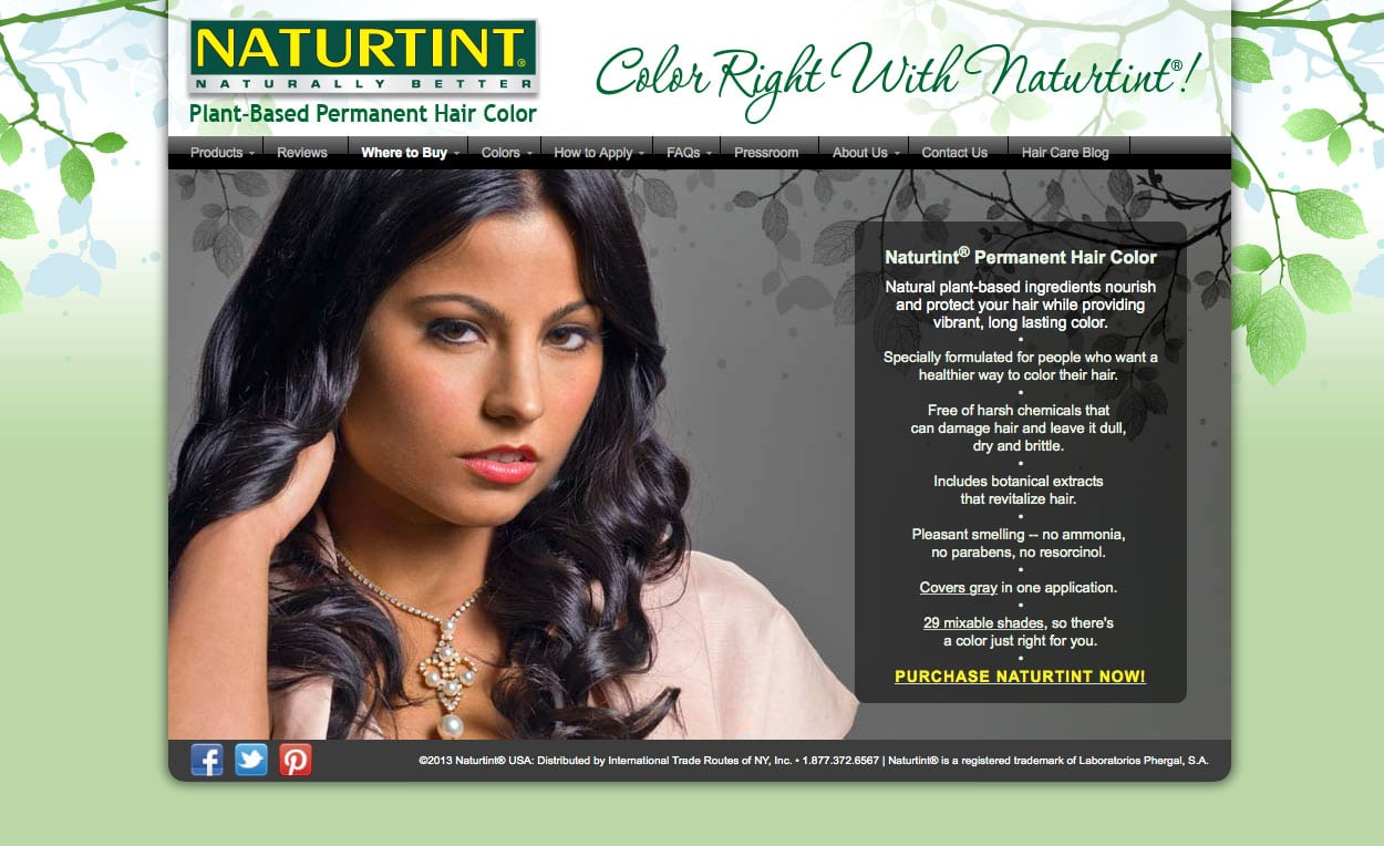 Image of Naturtint USA website