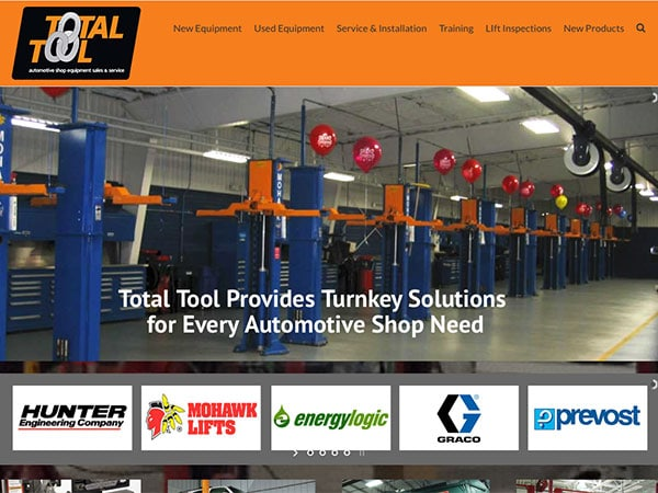 Image of Total Tool website designed by Blass Marketing